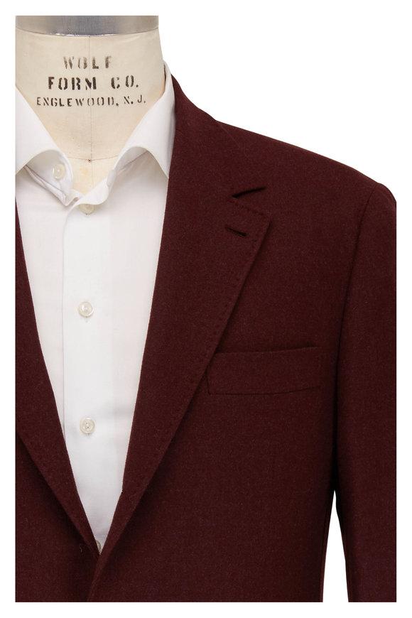 Brunello Cucinelli Burgundy Wool & Cashmere Sportcoat