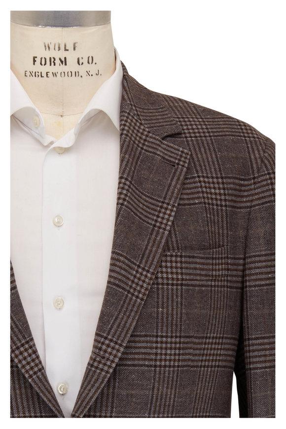 Brunello Cucinelli Gray & Brown Plaid Sportcoat