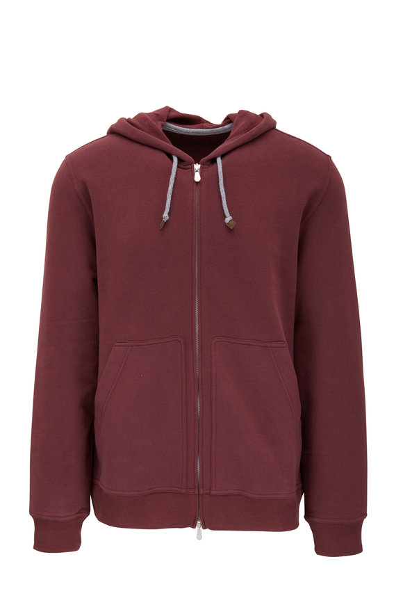 Brunello Cucinelli Burgundy Cotton Front Zip Hoodie