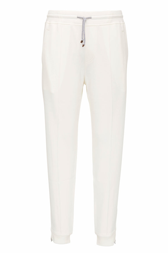 Brunello Cucinelli Off White Zip Cuff Sweatpant