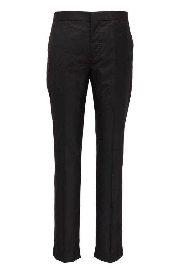 Brunello Cucinelli Black Wool & Silk Tuxedo Pant