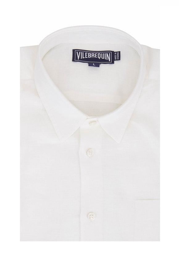 Vilebrequin Solid White Linen Sport Shirt