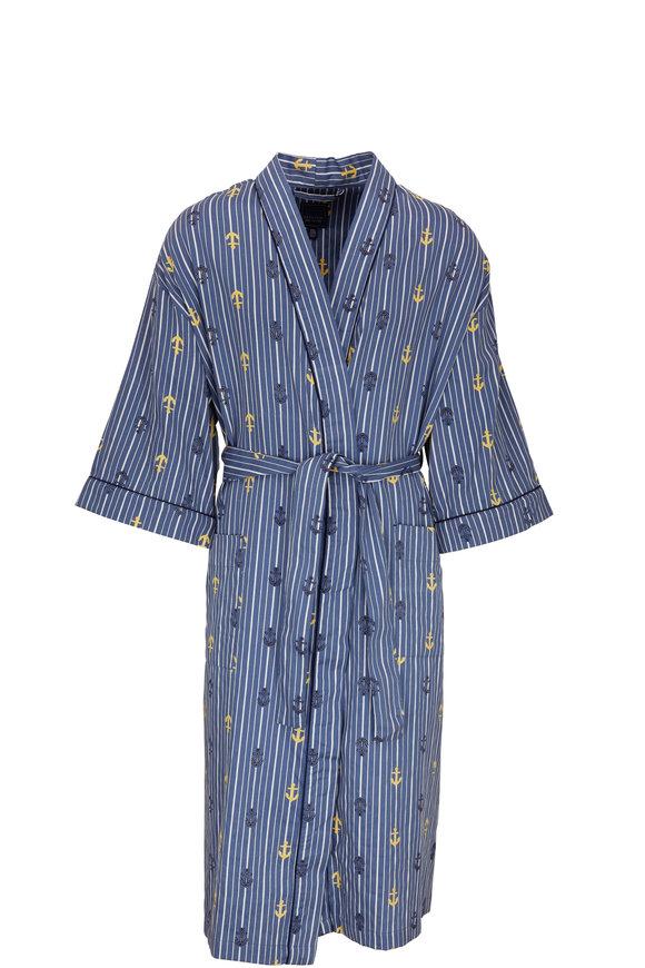 Majestic Blue Stripe & Anchor Cotton Robe