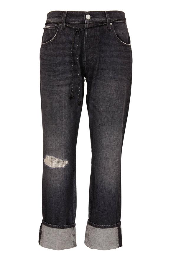 Hudson Clothing Blake Black Repaired Rip Slim Straight Jean