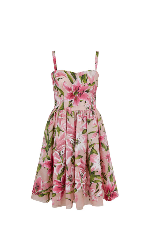 Dolce & Gabbana Pink Lily Print Fit & Flare Dress