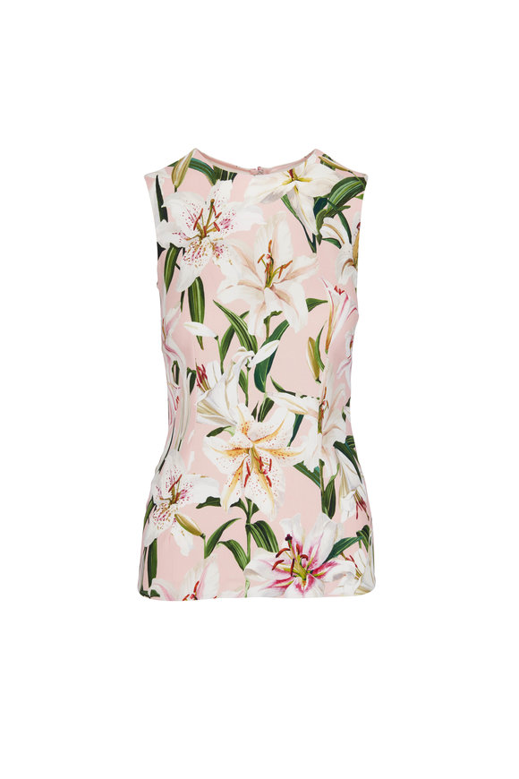 Dolce & Gabbana Pink Lily Print Sleeveless Top