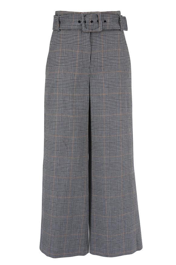 Veronica Beard Dexter Navy Multi Linen & Cotton Belted Pant