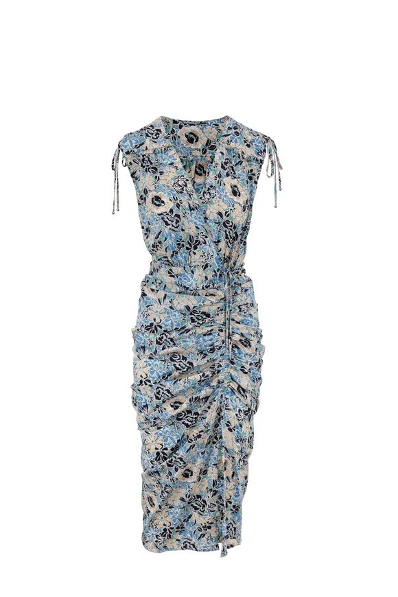 Veronica Beard Teagan Blue Multi Floral Shoulder-Tie Dress