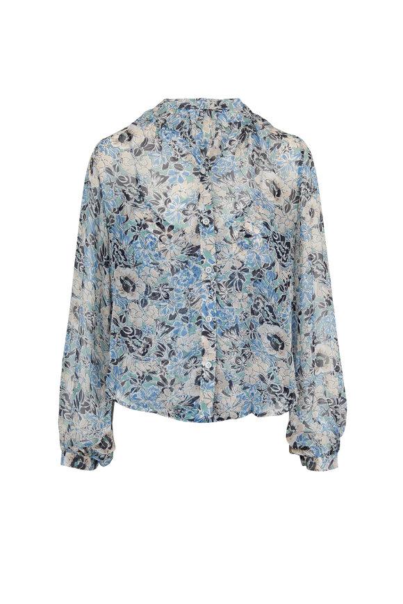 Veronica Beard Ashlynn Blue Multi Floral Collarless Blouse