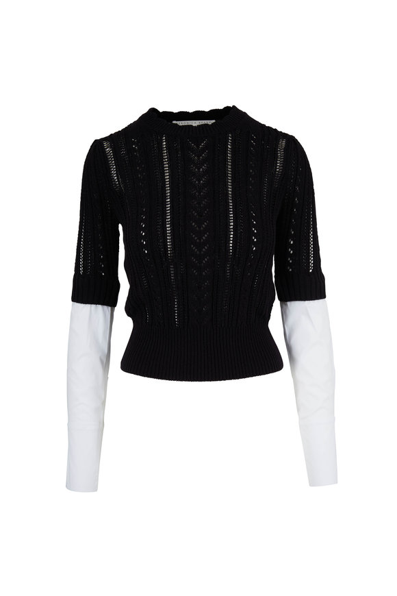Veronica Beard Spence Black & White Mixed Media Sweater