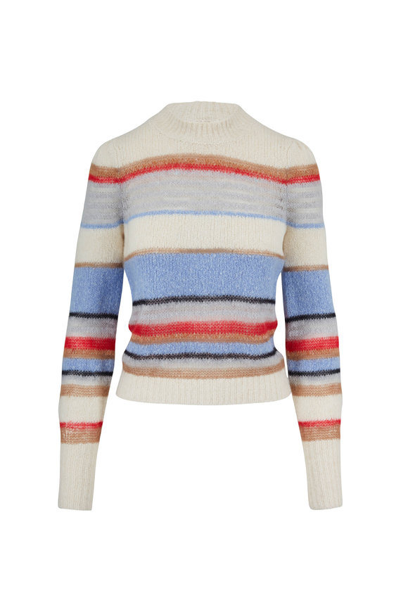 Veronica Beard Meredith Multi Striped Crewneck Sweater