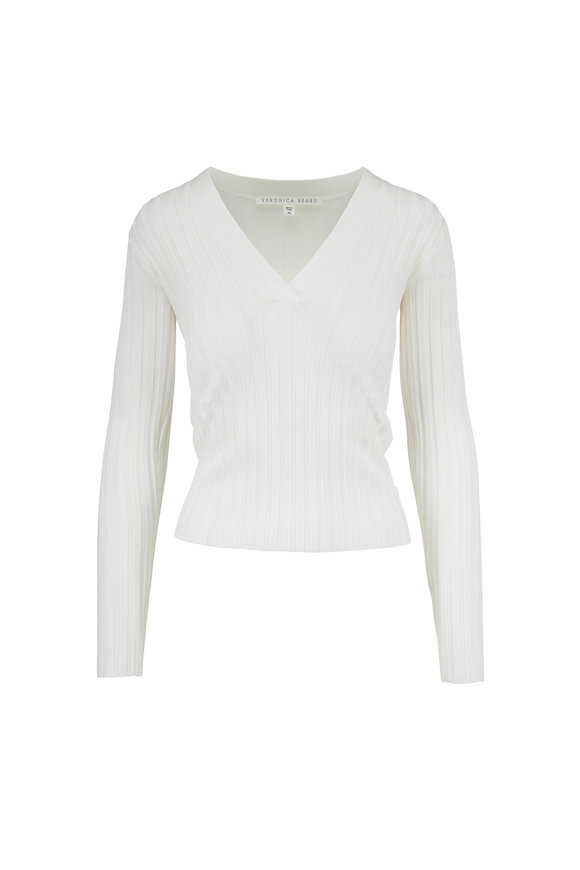 Veronica Beard West Off White V-Neck Ribbed Top