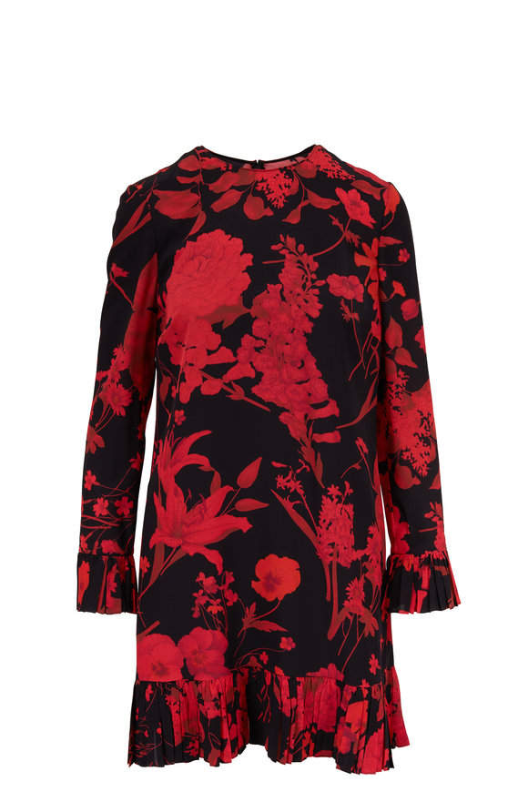 Valentino Black & Red Silk Floral Print Voulant Dress