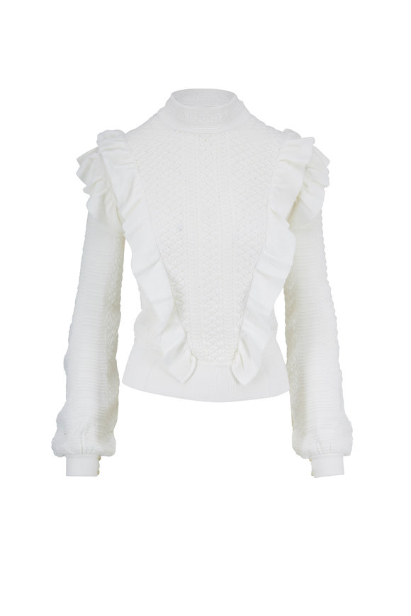 Chloé Vanilla Ruffled Knit Sweater