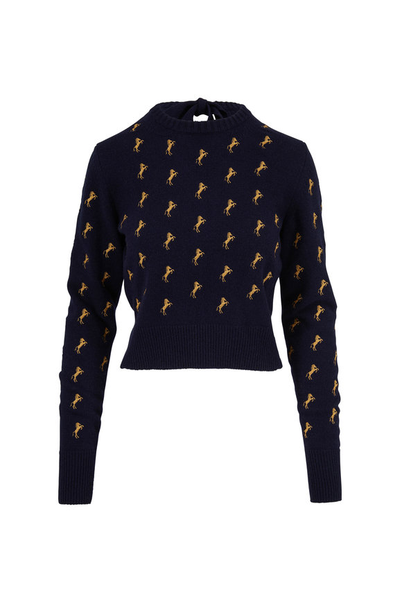 Chloé Navy Horse Embroidered Tie-Back Sweater