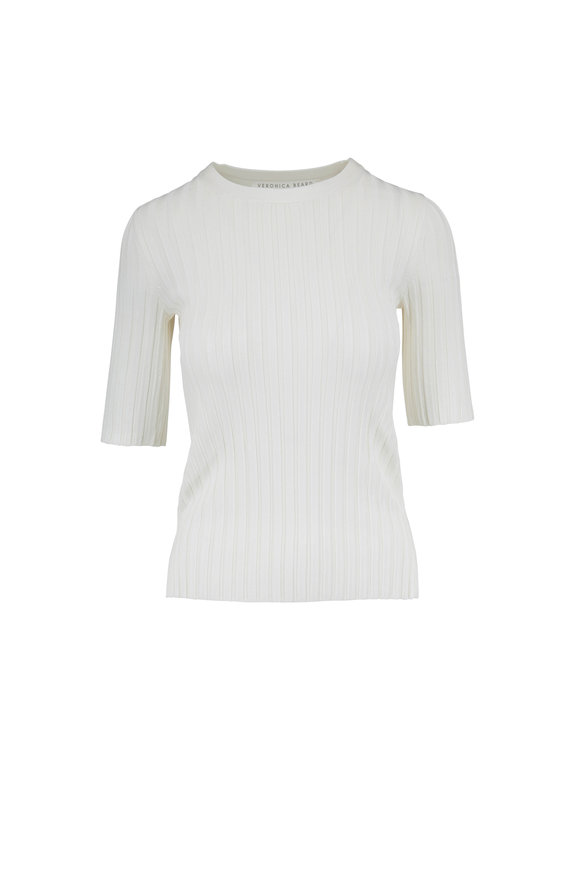 Veronica Beard Dillon Off White Crewneck Ribbed Top