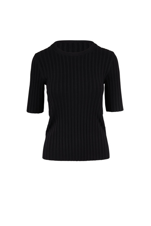 Veronica Beard Dillon Black Crewneck Ribbed Top