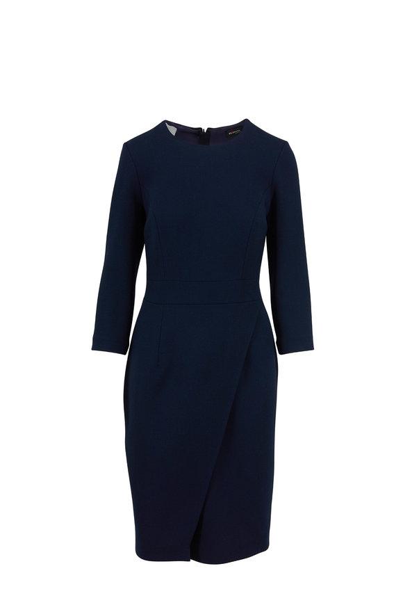 Kiton Navy Blue Wool Crêpe Wrap Skirt Dress