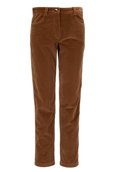 Kiton - Camel Velvet Sraight Fit Pant
