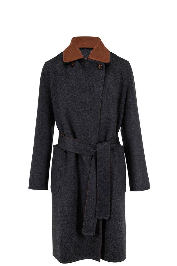 Kiton Gray & Brown Cashmere Reversible Coat