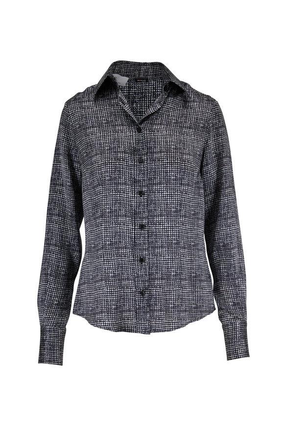 Kiton Black & Gray Print Silk Classic Blouse