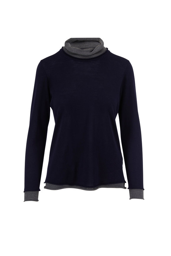 Rani Arabella Navy & Charcoal Fine Knit Turtleneck