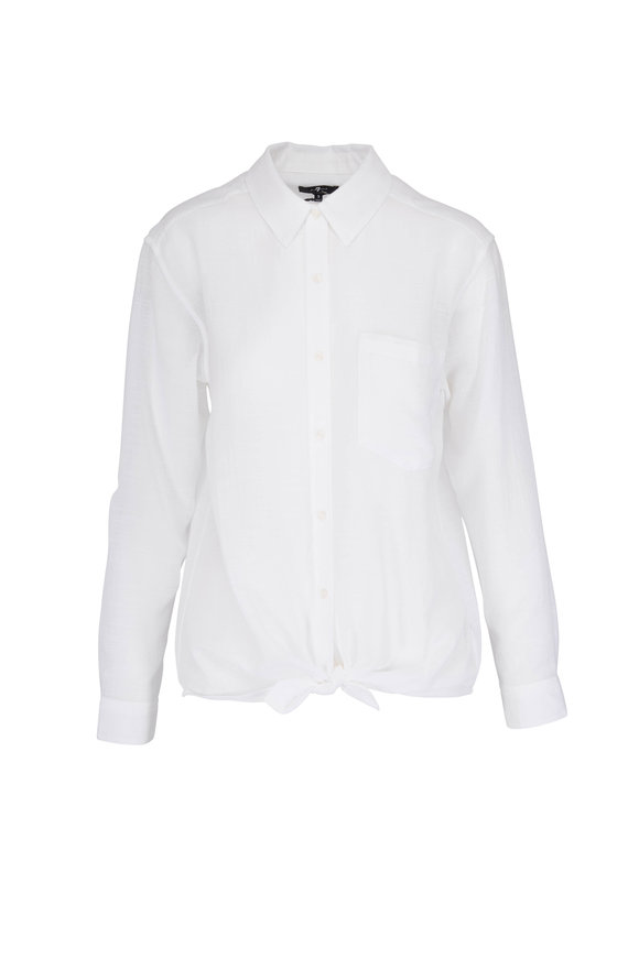 7 For All Mankind White High Low Tie Front Shirt