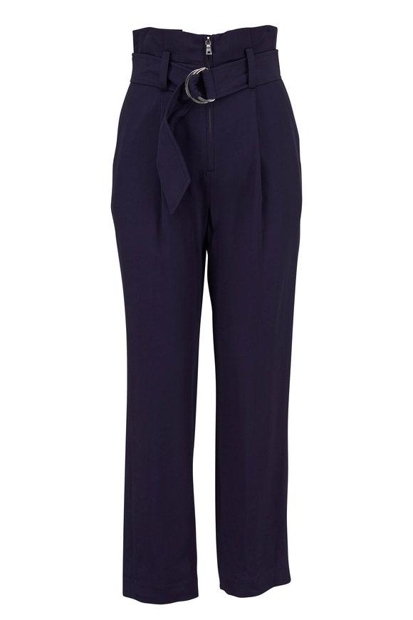 Jonathan Simkhai Midnight Twill Pleated Belted Pant