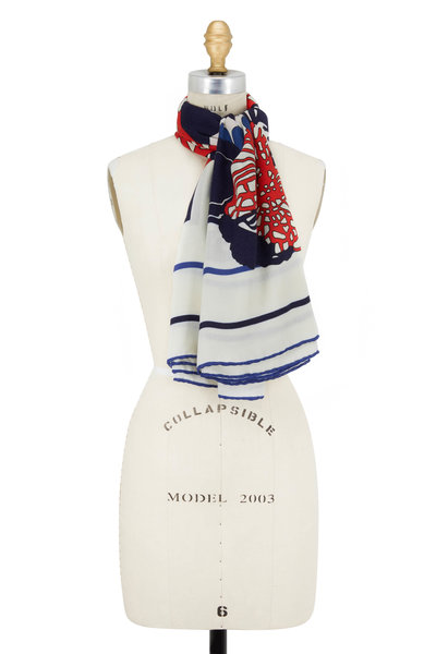 Rani Arabella - Red & Navy Flower & Stripe Border Scarf