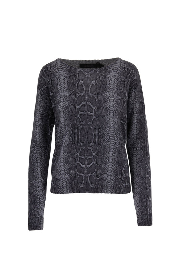 Raffi  Graphite Cashmere Snake Print Crewneck Sweater