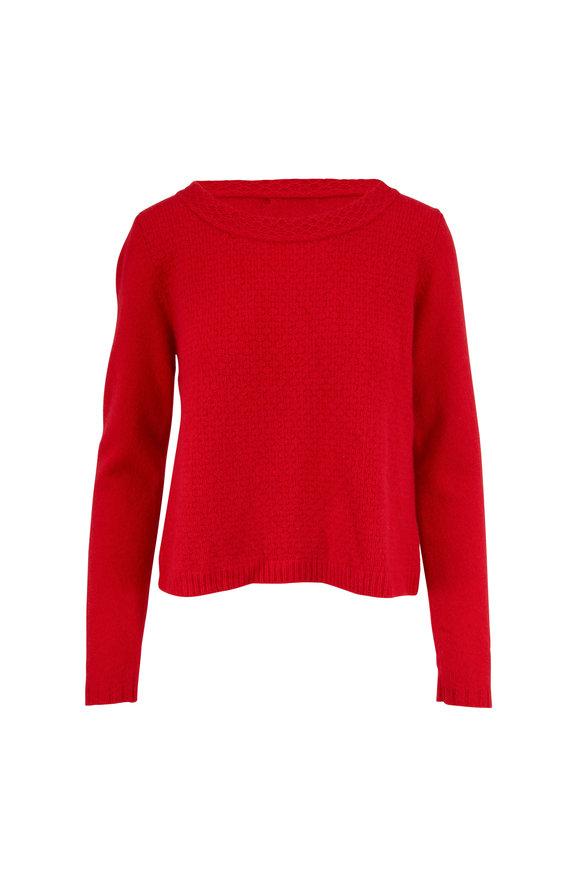 Raffi  Red Cashmere Textured Knit Crewneck Sweater