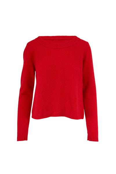 Raffi - Red Cashmere Textured Knit Crewneck Sweater