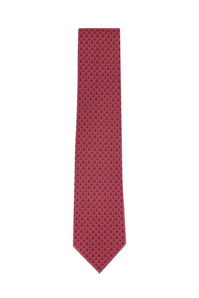 Salvatore Ferragamo - Red Horseshoe Patterned Silk Necktie