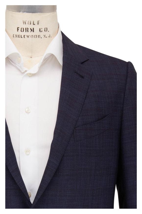 Ermenegildo Zegna Navy Blue Glen Plaid Wool & Silk Suit