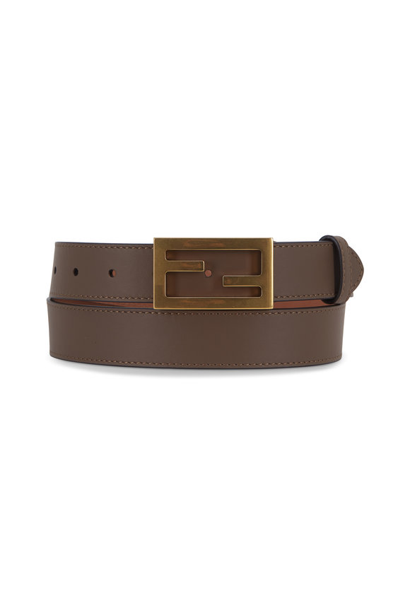Fendi Maya Brown Leather FF Buckle Belt