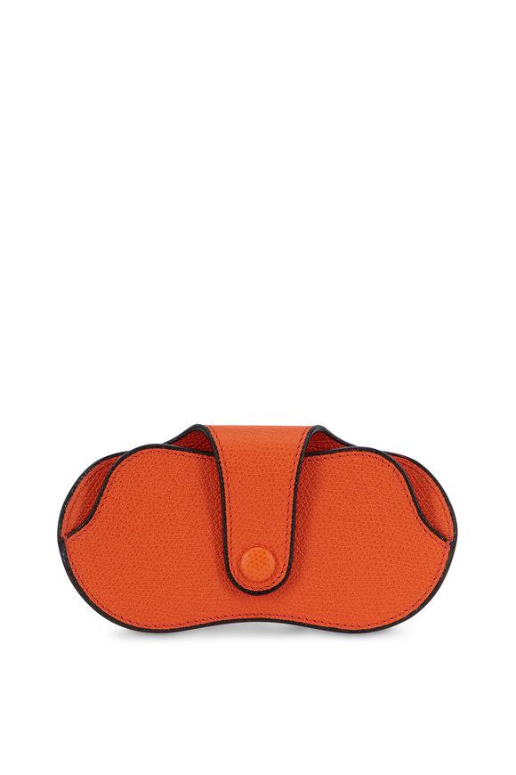 Valextra Bright Orange Leather Eyeglass Case