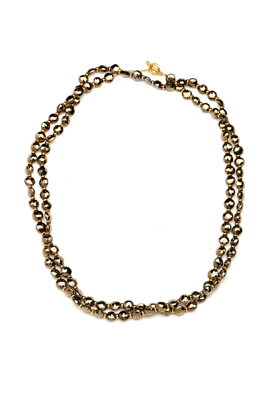 Long Gold Bead Chain Necklace