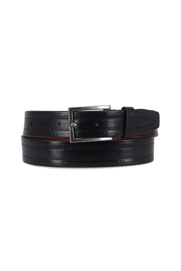 Trafalgar Wesley Black Leather Belt