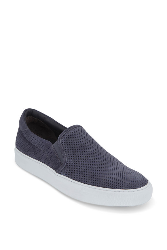 To Boot New York Racer Gray Perforated Suede Slip-On Sneaker