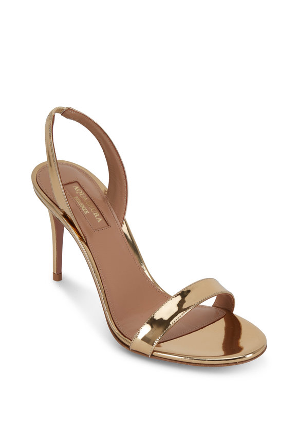 Aquazzura So Nude Soft Gold Leather Sandal, 85mm