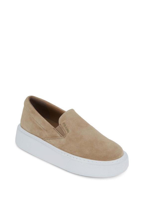 Prada Deserto Suede Slip-On Wedge Sneaker