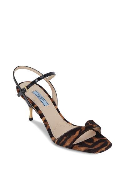 Prada - Leopard Calf Hair Sculpted Heel Sandal, 65mm