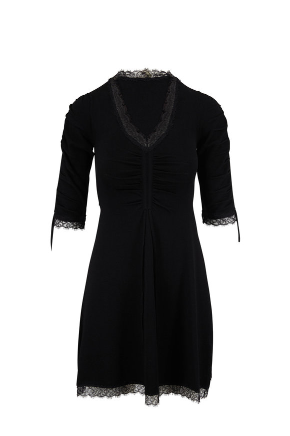 Jonathan Simkhai Black Ruched Lace Trim Knit Dress