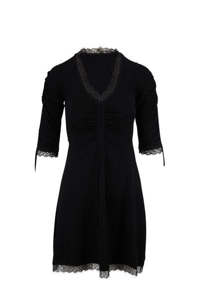 Jonathan Simkhai - Black Ruched Lace Trim Knit Dress