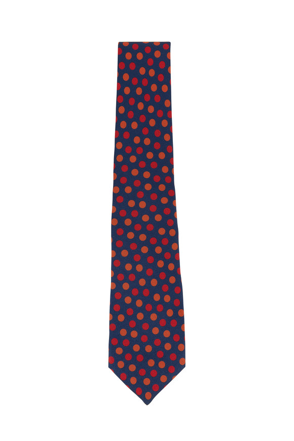 Kiton Blue & Orange Dot Silk Necktie