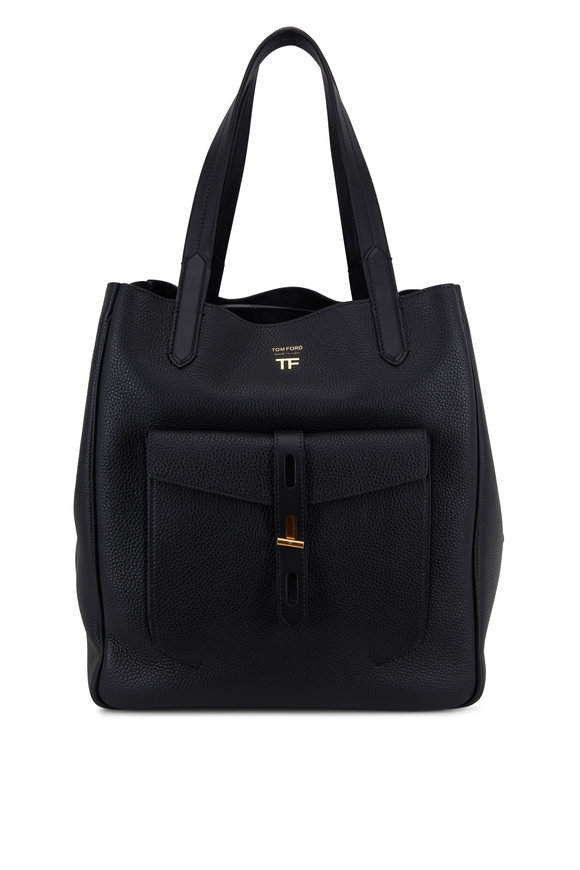 Tom Ford Hollywood Black Grained Leather Medium Tote
