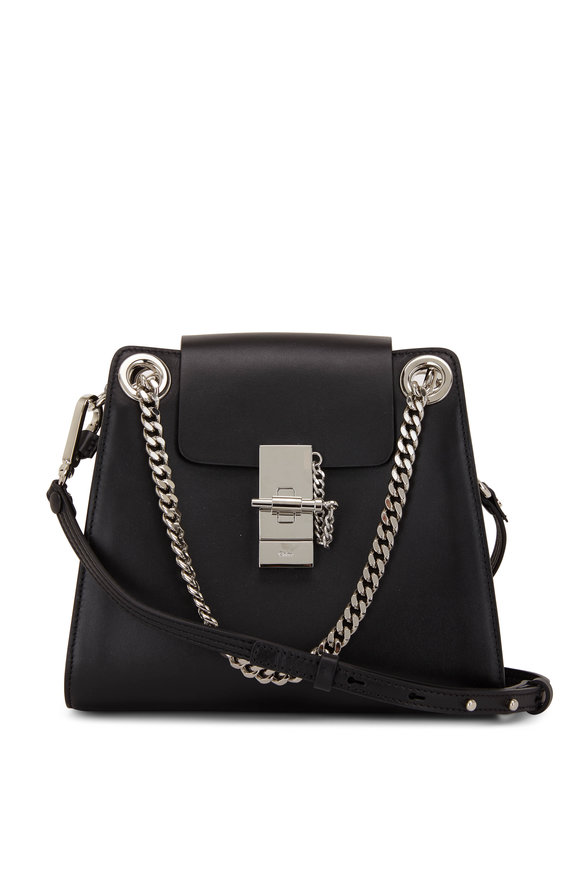 Chloé Mini Annie Black Glossy Leather Shoulder Bag