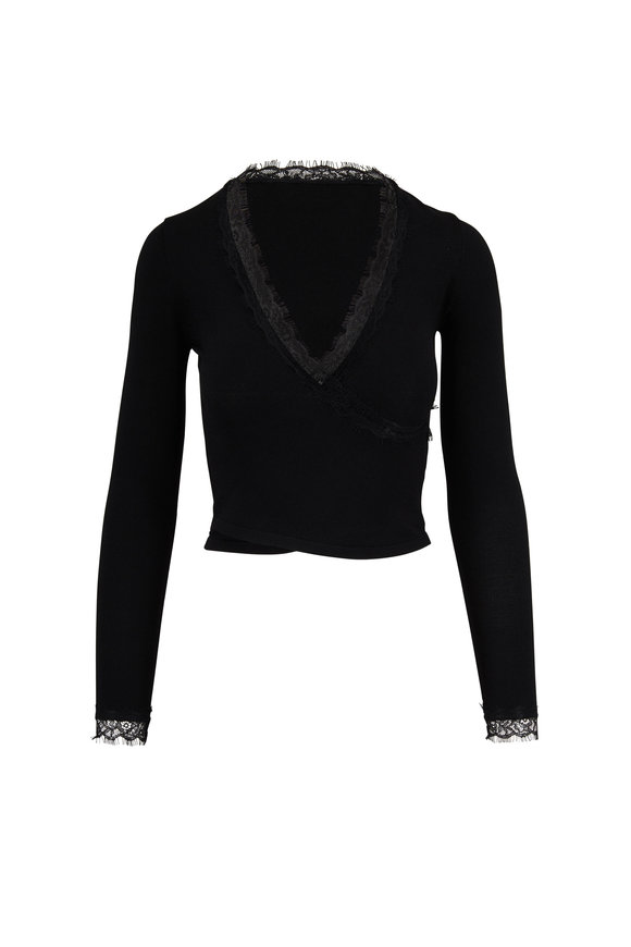 Jonathan Simkhai Black Lace Trim Knit Wrap Top