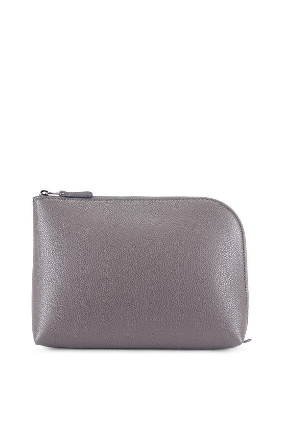 The Row Pochette Ash Grey Leather Medium Square Clutch