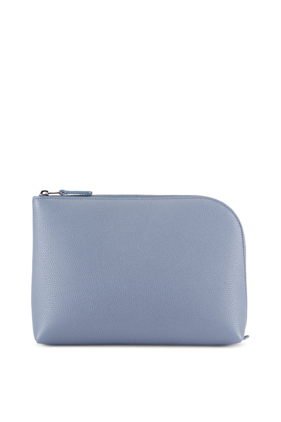 The Row Pochette Chrome Blue Leather Medium Square Clutch